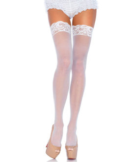 Leg Avenue Sheer Thigh Highs With Lace Tops White UK 6 to 12